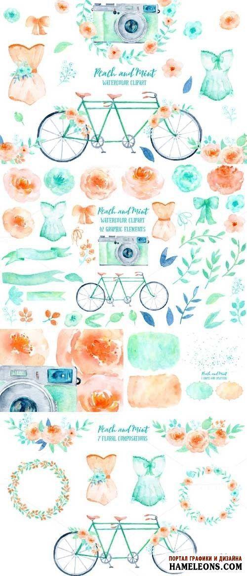Клипарт на прозрачном фоне с праздничными вещами, объектами: цветы, ленты, банты, женское платье, цветочный венок, велосипед, фотоаппарат |  Wedding Clipart Peach and Mint