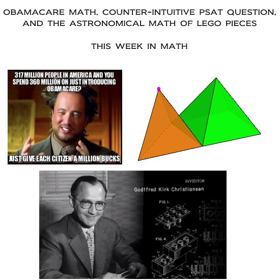 This Week In Math (#4): Obamacare Meme, Counter-intuitive PSAT Question, Lego Math