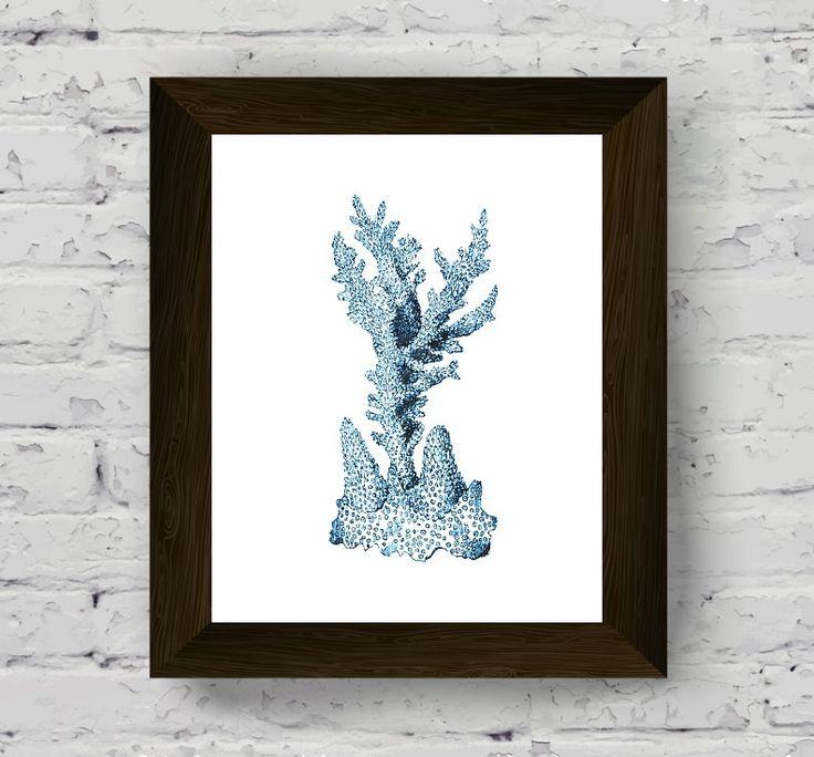 coral wall decor, coastal prints, nautical watercolor, marine decor, bathroom wall art, sea print, wall art prints, digital download di AlemiPrints su Etsy