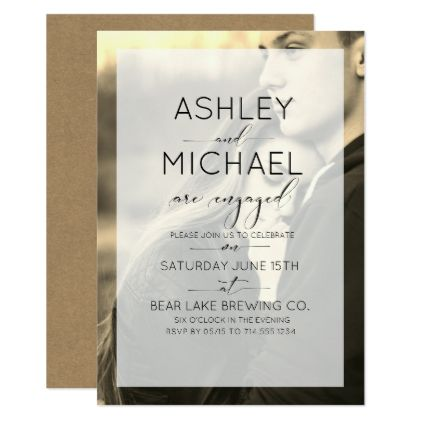 Sepia Kraft Typography Photo Engagement Invitation - script gifts template templates diy customize personalize special