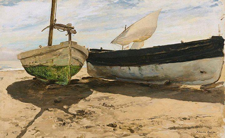 Joaquín Sorolla y Bastida / 27 Şubat 1863 - 10 Ağustos 1923 / İspanya / Sahilde Balıkçı Tekneleri, 1894