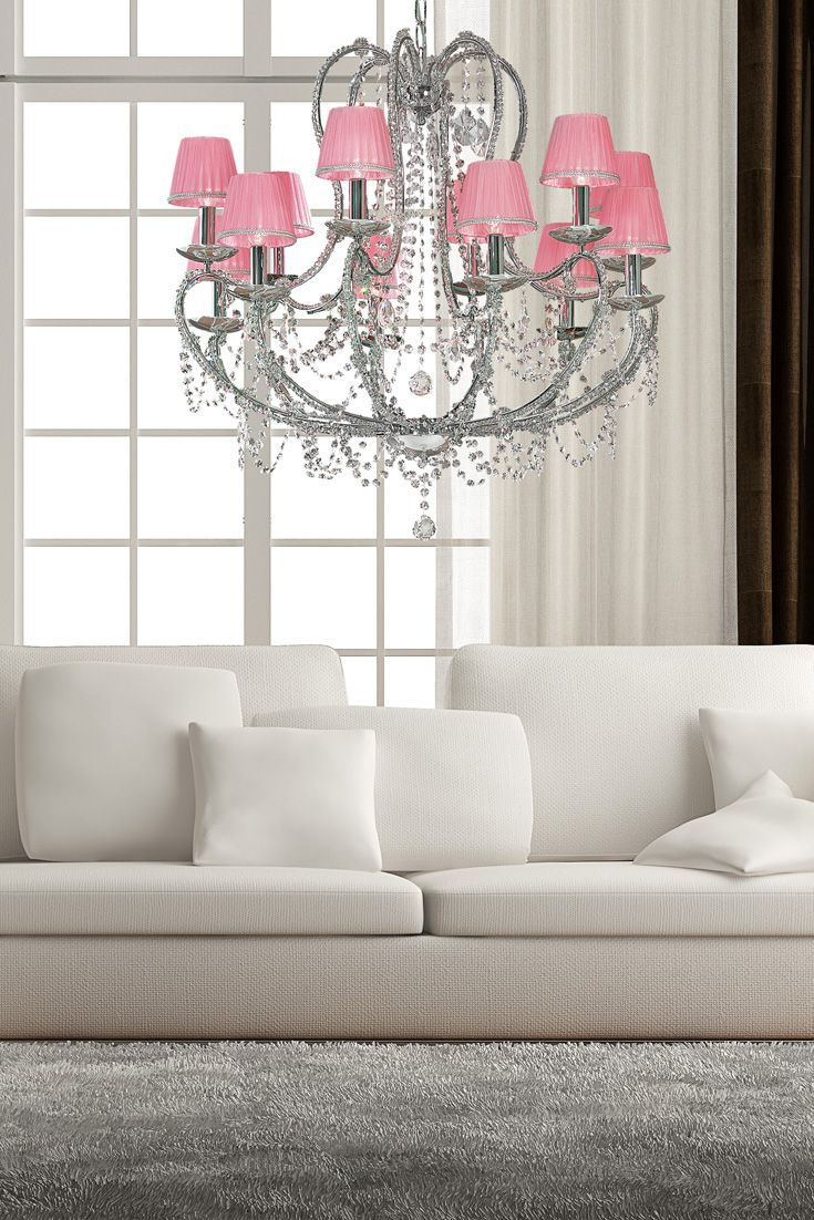 Elegance For Any Setting, The Designer Swarovski Crystal Chandelier With  Pink Shades At Julietteu0027s Interiors