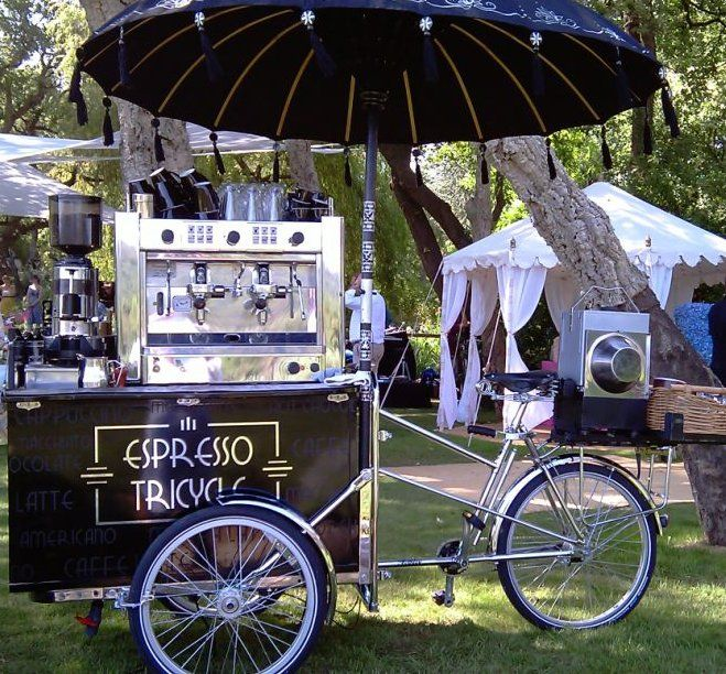 Espresso Tricycle - Drinks Tricycle | London | South East | UK Contraband Events | Performers | Entertainment Agency | Corporate Event Entertainment / UK Talent Booking Agency / Celebrity / Famous Artistes / London / UK www.contrabandevents.com