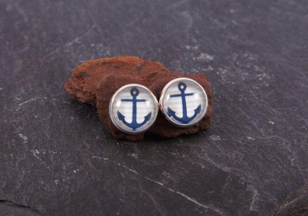 Ohrstecker - ♥ Ohrstecker Anker hellblau silber - ein Designerstück von zuckerputzig bei DaWanda