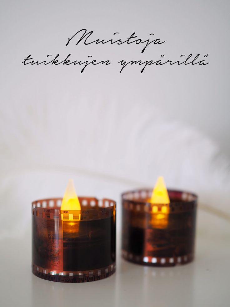 DIY film negative candle rings / Kynttilärenkaat vanhoista negatiiveista led-tuikuille