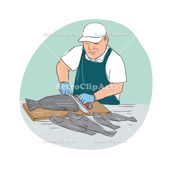 Fishmonger Cutting Fish Cartoon Vector Stock Illustration.  Cartoon illustration showing a Fishmonger Cutting Fish with knife viewed from front set inside oval shape. #illustration   #FishmongerCuttingFish