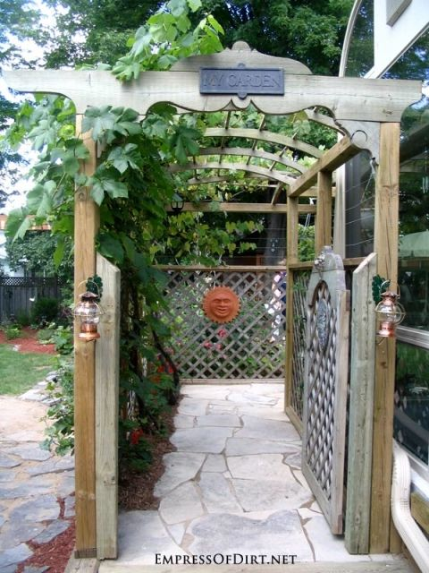 20+ Ways to create vertical interest in the garden with arbors, trellis, obelisks, and more. Arbor with garden gate.