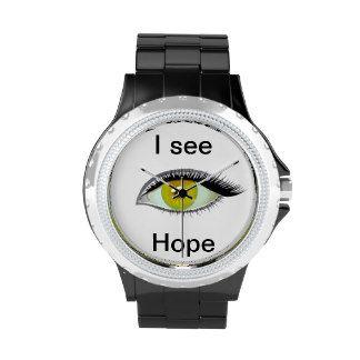 I watch and see hope amber eye wrist watch