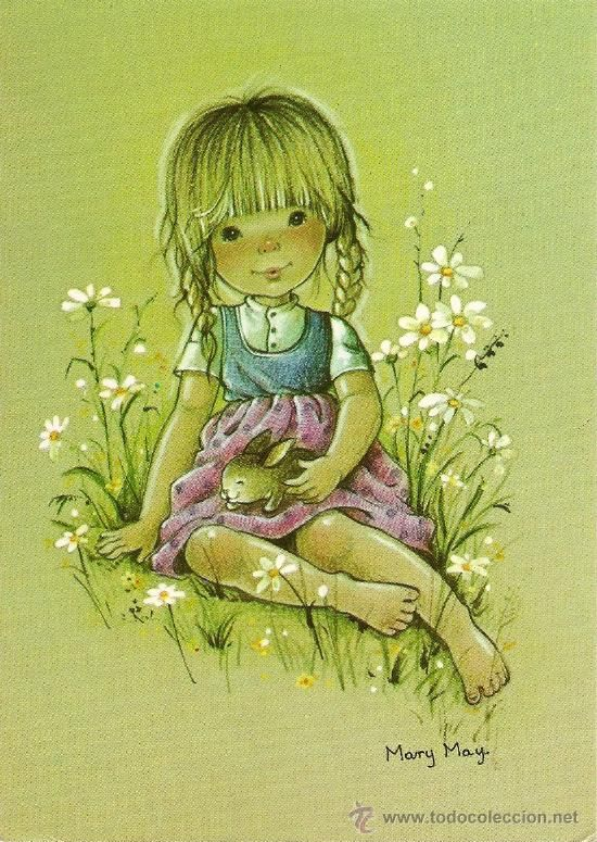 Bonita postal: Niña con conejito. Serie Mary May. nº 520/3. Deposito legal año 1982 (Postales - Dibujos y Caricaturas)