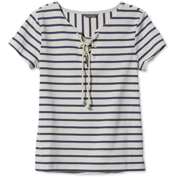 L.L.Bean Signature Signature Nautical French Sailor Tee, Stripe (979.880 VND) ❤ liked on Polyvore featuring tops, t-shirts, shirts, striped tees, cotton shirts, lace up shirt, cotton tee and t shirt