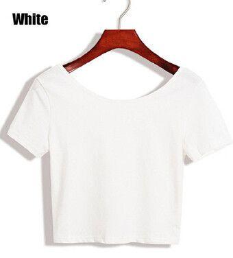 E117 Basic Stretch Women Sexy Crop Top Girl Short Sleeve T Shirt Tee Black White Grey Vest Camisole Regata Feminina