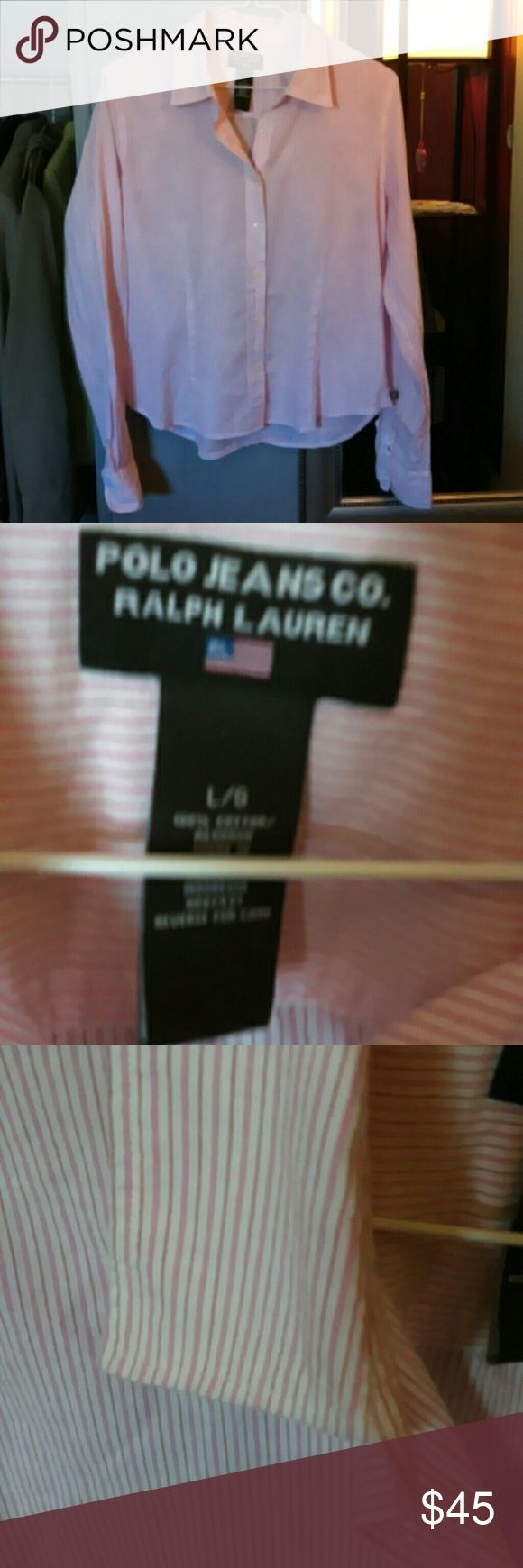 SALE!!Polo Ralph Lauren pink pinstripe shirt L Classic Polo Ralph Lauren shirt. Different colors and thicknesses of pink lines on the shirt. White button down. Non-iron Shirt. Excellent condition! Size large Polo by Ralph Lauren Tops Button Down Shirts