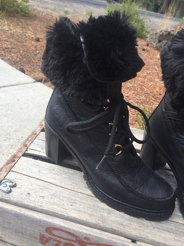 Hunter Womens Leather Eveline Black Lace Up Faux Fur Leather Ankle Boot Heel 38    eBay