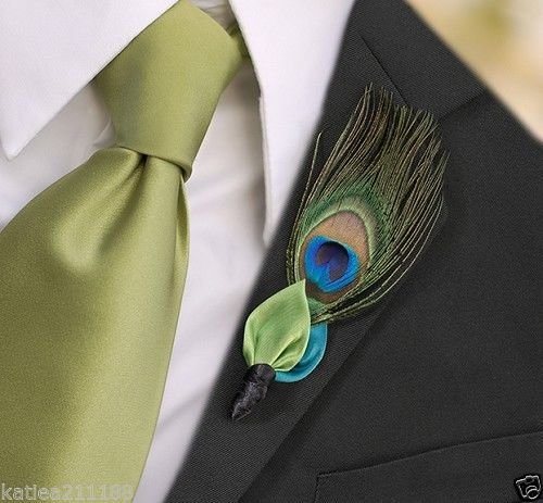 New-wedding-peacock-feather-5-x-3-boutonniere-button-hole