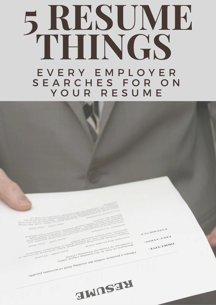 5 Things Every Employer Searches For On Your Resume #Resume #ResumeTips.  Job ResumeResume TipsResume Writing ...