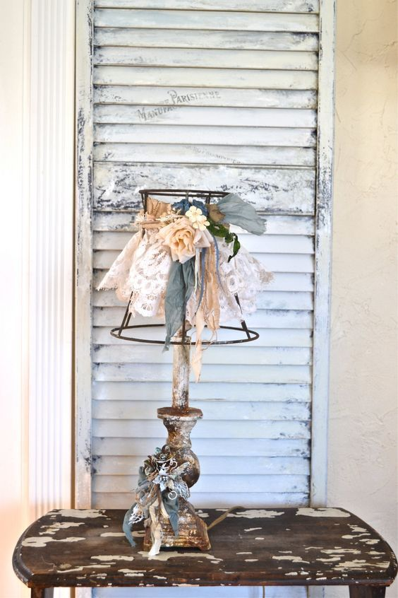 Heavy weight iron Vintage rustic metal lamp and lampshade-Rustic Shabby lace lampshade-Romantic Shabby chic decor-Ruffle lampshade by Anniesimages on Etsy