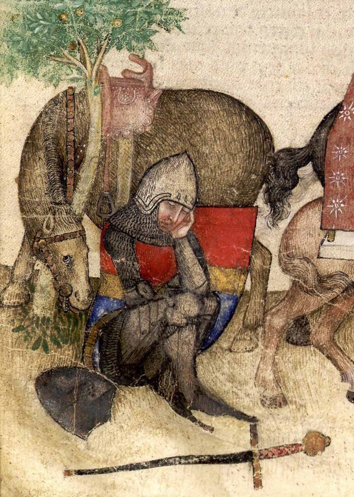 BNF Français 343 Queste del Saint Graal / Tristan de Léonois/Quest for the Holy Grail  c.1380-1385 Italie ville de Milan BNF Français 343.f.18 la quête du saint graal   Tristan de Léonois