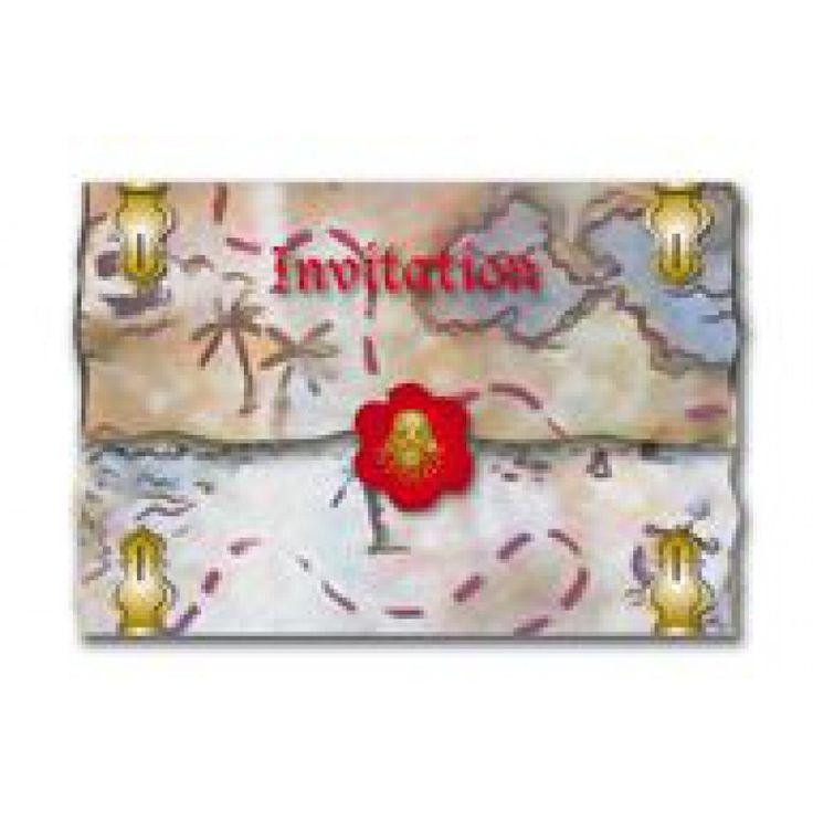 Uitnodigingen voor een Piratenfeestje 8 stuks 8 uitnodigingen met verzegelde enveloppen voor het leukste Piraten kinderfeestje.