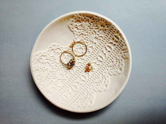Handmade White Clay Stamped Lace Patterned Ring by BeFave on Etsy