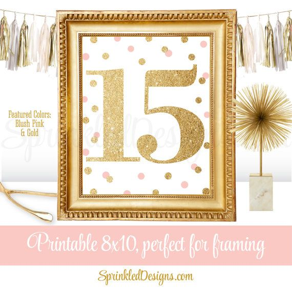 15th Birthday Party - Fifteenth Birthday - Number 15 Sign - Blush Pink Gold Glitter Birthday Girl Party Decorations - Printable 8x10 JPG by SprinkledDesigns.com