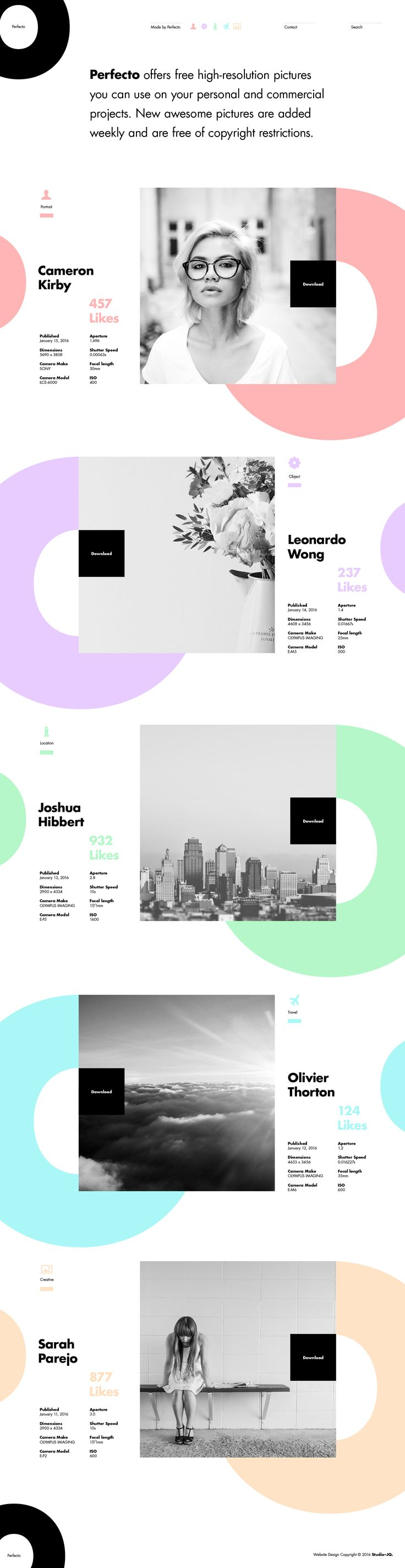 Perfecto layout Found in STUDIOJQ@dribbble portfolio