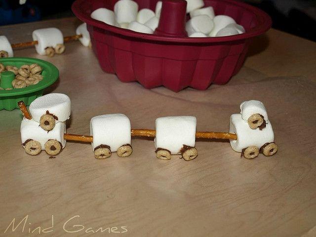 marshmallow, pretzel sticks and cheerio train snack