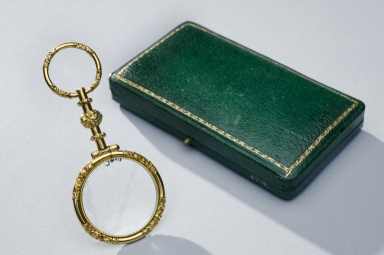 1800-1820 ca.  Quizzing Glass in a green case, France.