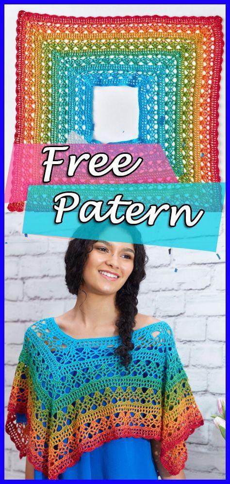 Fire And Ice Poncho Crochet Pattern Free Easy Crochet Pinterest