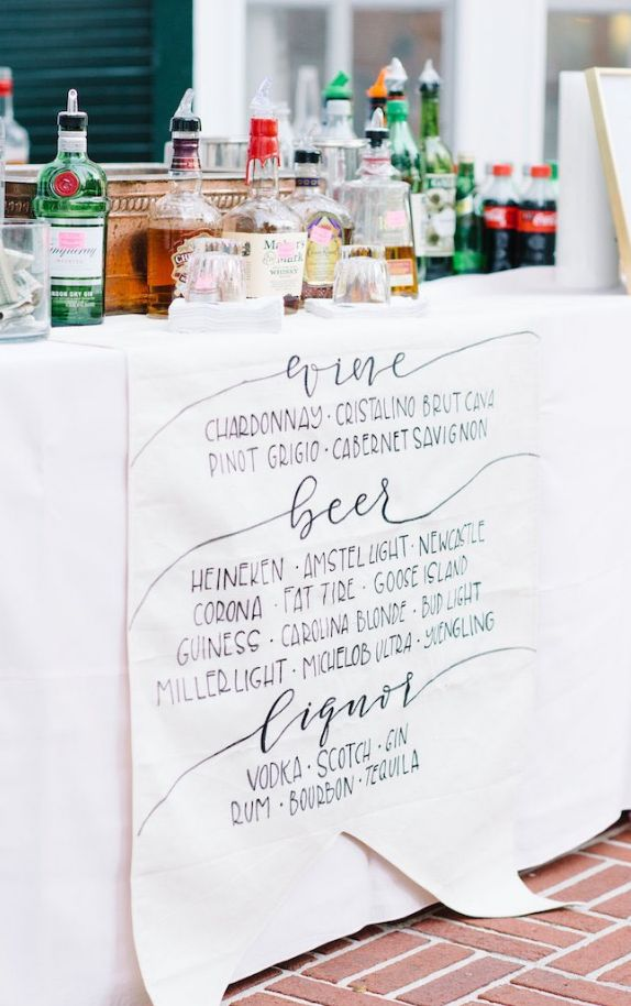 Featured Photographer: Aaron and Jillian Photography; mermaid wedding reception bar menu idea; click to see more details about this North Carolina wedding