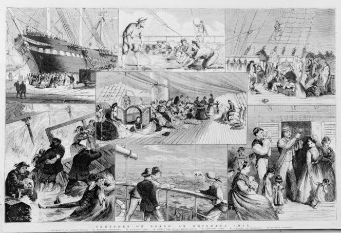 Montage of sketches depicting life on board an emigrant ship 1875