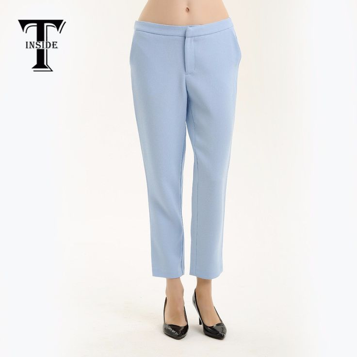 T-Inside 2016 Women Pants Ankle Length Light Blue Quality with Pockets Wear to Work Casual Women's Straight Trousers Brand New