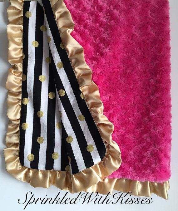 Gold polka dot metallic baby & toddler minky blanket, gold dots blanket, toddler minky blanket