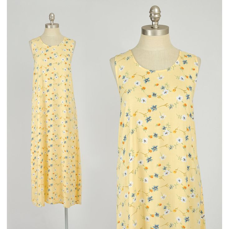 Vintage 1990s Dress - 90s Sunny Yellow Floral Print Dress Sundress - Long Loose Fit  #vintage #vintageclothing #vintagefashion #vintageclothes #vintagedress #vintagedresses #vintagesundress #90sdresses #1990sdresses #90sclothing #90sfashion #grunge #softgrunge #grungefashion #vintagegrunge #womensclothing #womensfashion #summerclothing #summerfashion #summerdresses #floraldress #floraldresses #longdresses #summerdress #sundress #floralsundress #floralprintdress