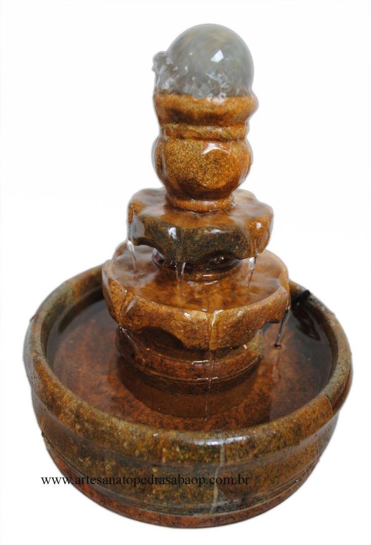 Fonte de água com bolinha giratória em pedra sabão - R$ 101,00, no Mercado livre.