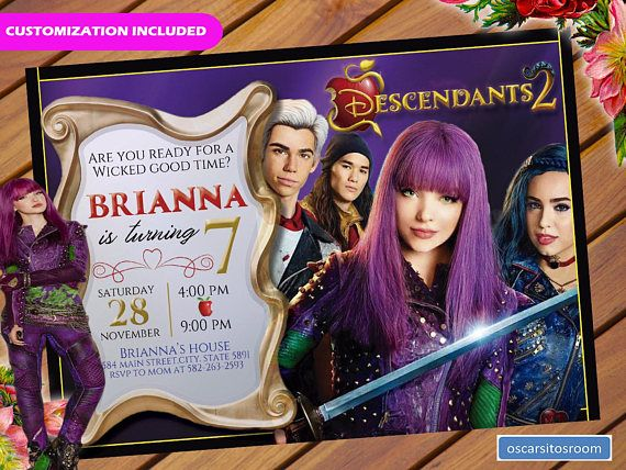 Descendants 2 Invitation Birthday