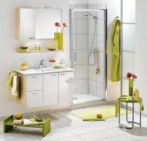 baño moderno blanco y verde