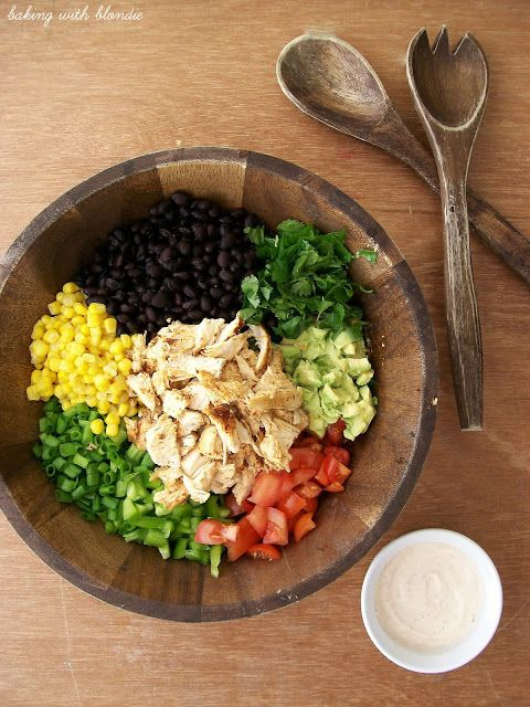 Baking with Blondie : Southwestern Chopped Chicken Salad  I like the idea of making this without the bed of romaine.  Mix all the ingredients together and use lettuce leafs to serve.