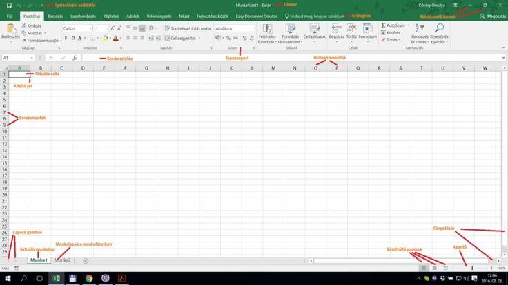 Excel munkaasztal elemeinek megnevezése