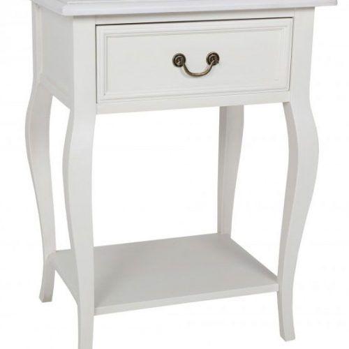 Bastille Antique White Bedside Table 1 Drawer Cabriolet Legs 700H