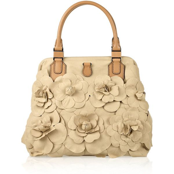Valentino Flower Liquéd Canvas Tote Misty Soft Spring Peach Toned Pinterest Purse Light And Polyvore