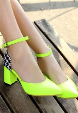 Ankle Strap Neon Fashion Pumps