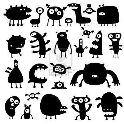 colección de dibujos animados divertidos monstruos silouettes  Foto de archivo