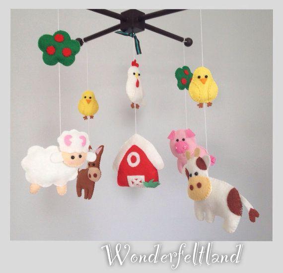 Crib Mobile, Nursery Decor, Farm animals Mobile, Felt Mobile, Barnyard mobile( horse, cow, pig,sheep, chicks, hen, barn) on Etsy, $95.00