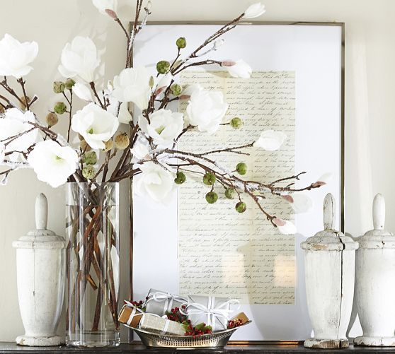 Faux Flocked Magnolia Stem   Pottery Barn