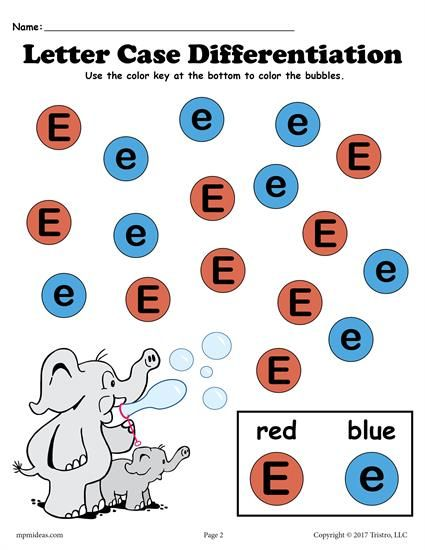 FREE Letter E Do-A-Dot printable for letter case differentiation practice. Also includes a customizable Do-A-Dot letter E worksheet where you can choose your own colors! Great for preschoolers and toddlers. Get both letter E worksheets here --> http://www.mpmschoolsupplies.com/ideas/7567/free-letter-e-do-a-dot-printables-for-letter-case-differentiation-practice/