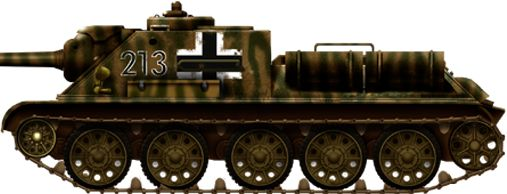 Captured SU-85 in german service (BeutePanzerjäger su-85 748(r)) were not uncommon in 1943-44, since many of them were disabled and evacuated, but towed and repaired by the Wehrmacht which tried to replace depleted units. These kind of captured tank hunters were highly praised, and were given very large Balkankreuz for identification, as a custom camouflage, here an ukrainian steppe summer livery for this Beutepanzer SU85(R) taken in photo, which fought with the XXIIIrd Panzerdivision.
