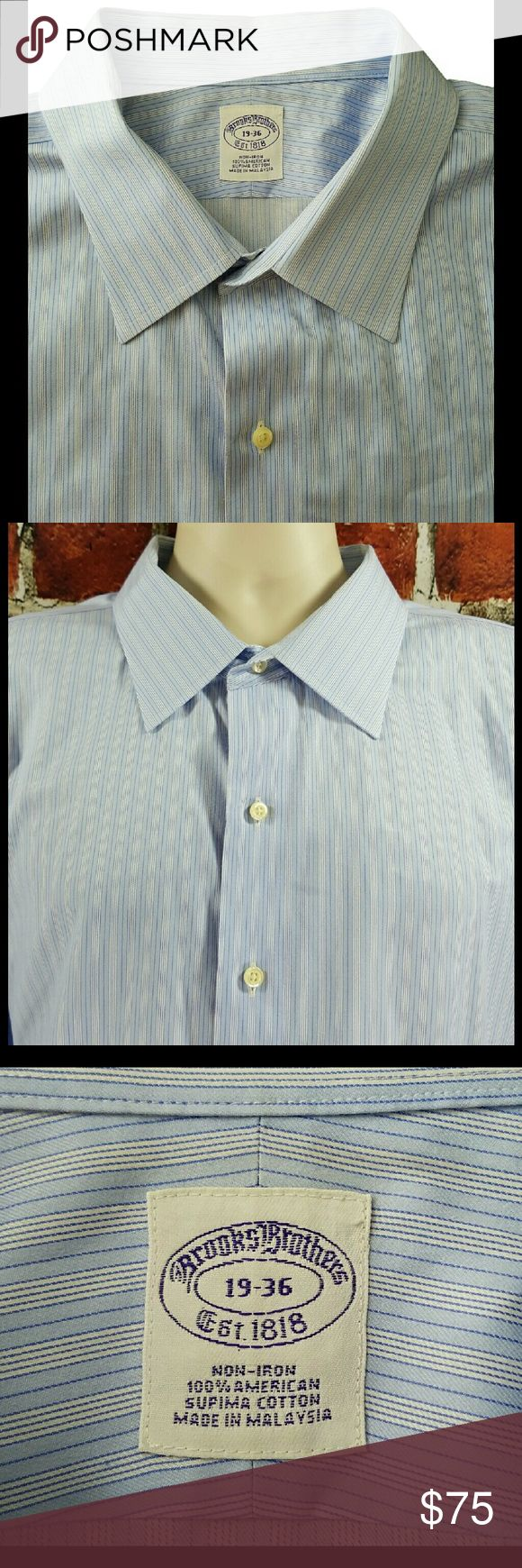 Brooks Brothers Big & Tall Dress Shirt 3XL 19-36 Brooks Brothers Non Iron Supima Cotton Blue Striped Dress Shirt Size: 3XL 19-36  About this item:  Excellent to Mint Condition All Supima Cotton Non-Iron Blue & White Striped  Size: 19-36 Across Chest: 30.5 Length: 36 Sleeve: 25 Brooks Brothers Shirts Dress Shirts