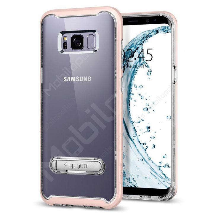 Průhledný kryt na Samsung Galaxy S8 se stojánkem Spigen Crystal Hybrid růžový