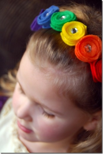 rainbow felt flower headband tutorial