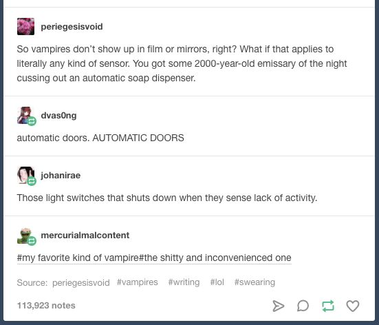 Undetectable vampires | writing prompt | funny tumblr post